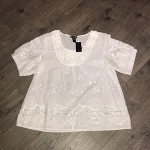 White Linen Shirt with Embroidery and stitching